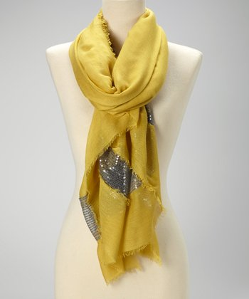 Mustard & Silver Sequin Raw-Edge Scarf