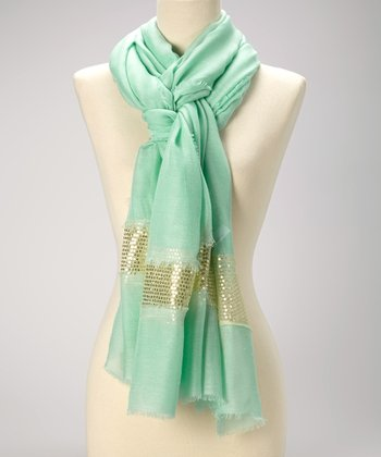 Jade & Gold Sequin Raw-Edge Scarf