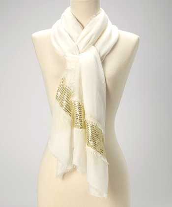 White & Gold Sequin Raw-Edge Scarf