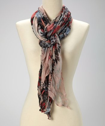 Gray & Red Floral Scarf