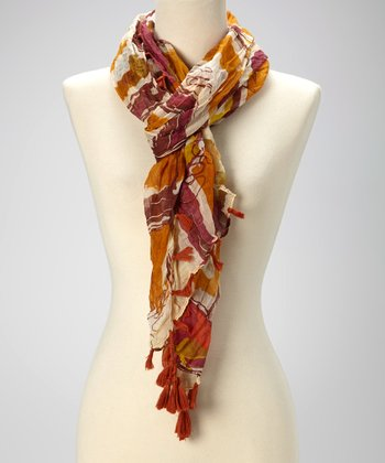 Rust Abstract Tassel Scarf