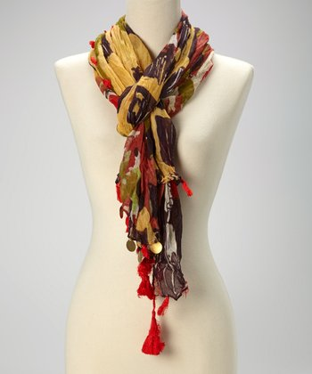 Red Abstract Tassel Scarf