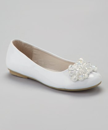 White Patent Beaded Flat