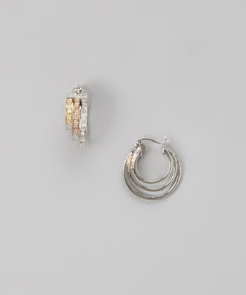 Diamond & Sterling Silver Triple Hoop Huggie Earrings
