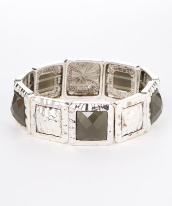 Silver & Gray Pyramid Stretch Bracelet
