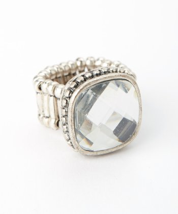 Crystal Silver Stretch Ring