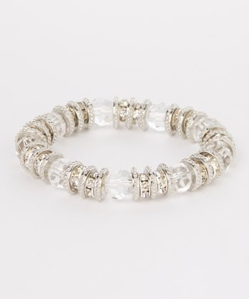 Silver Sparkle Bead Stretch Bracelet