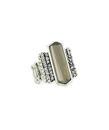 Silver Sparkle Geometric Stretch Ring