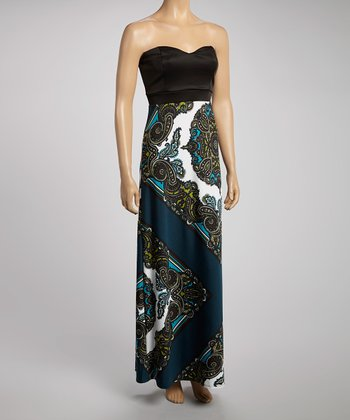 Black & Teal Strapless Dress