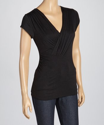 Black Ruched Surplice Top