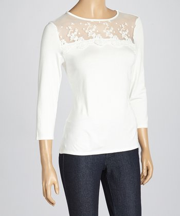 Ivory Floral Lace Three-Quarter Sleeve Top