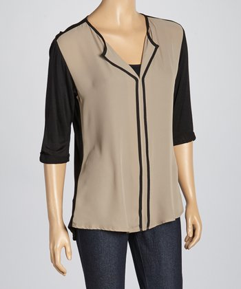Cocoa & Black Color Block V-Neck Top