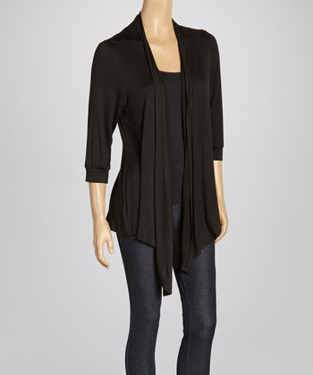 Black Lace Chevron Open Cardigan