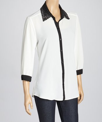 Ivory & Black Lace Collar Button-Up Top