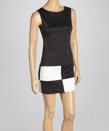 Black & Ivory Color Block Checker Sheath Dress