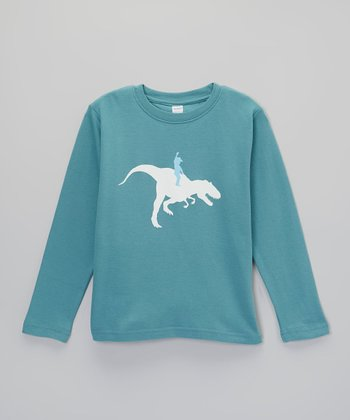Steel Blue Dinosaur Boy Long-Sleeve Tee - Toddler & Boys