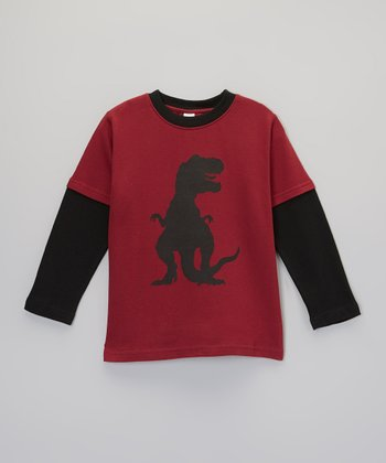 Maroon & Black T-Rex Layered Tee - Toddler & Boys