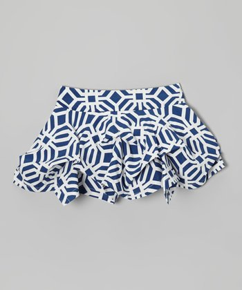Navy Tile Tuck Skirt - Toddler & Girls