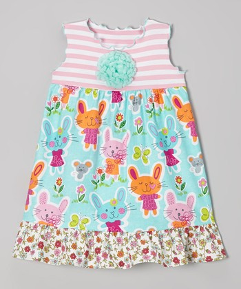 Aqua & Pink Somebunny Ruffle Babydoll Dress - Toddler & Girls