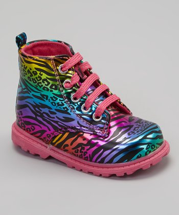 Pink & Purple Zebra Trek Ankle Boots