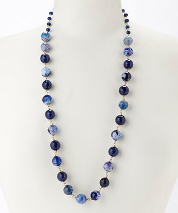 Cobalt Agate Bead Necklace & Drop Earrings