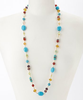 Turquoise & Freshwater Pearl Necklace & Drop Earrings