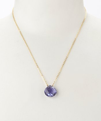 Iolite Quartz & Gold Teardrop Pendant Necklace