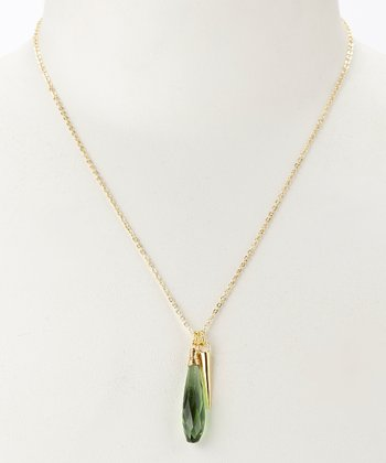Emerald Quartz & Gold Briolette Pendant Necklace