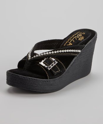 Black Suede Horizon Wedge Sandal