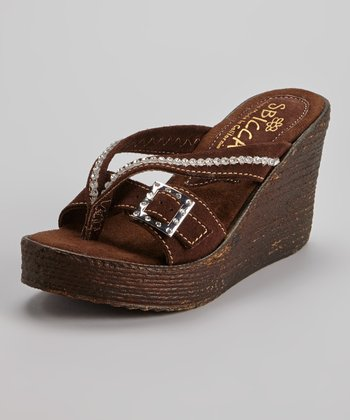 Brown Suede Horizon Wedge Sandal