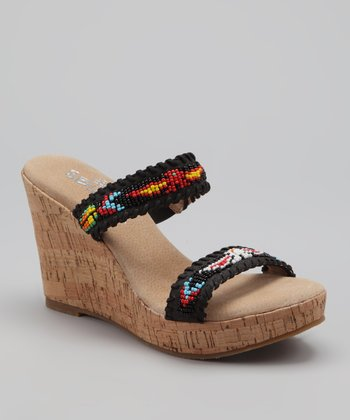 Black Karson Cork-Wedge Sandal