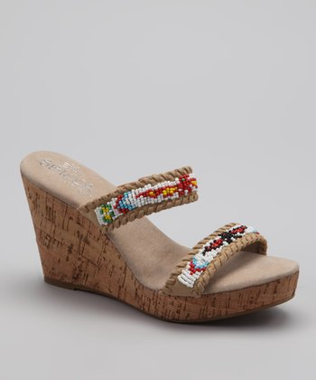 Natural Karson Beaded Cork-Wedge Sandal