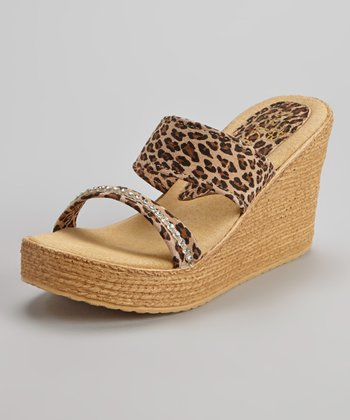 Tan Leopard Suede Vixen Animal Wedge Sandal