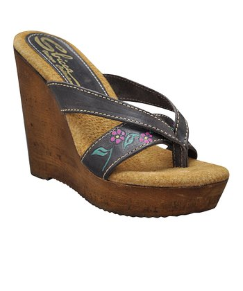 Brown Woods Wedge Sandal