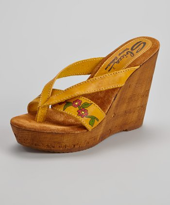 Yellow Woods Wedge Sandal