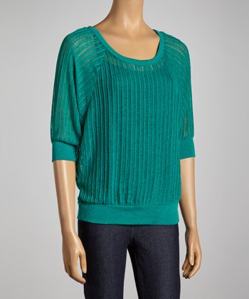 Teal Scoop Neck Dolman Top