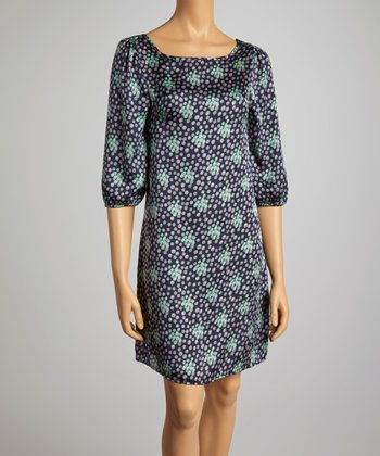 Navy & Mint Dot Scoop Neck Dress