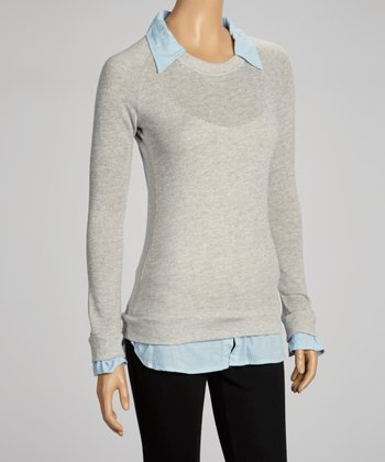 Gray & Blue Layered Top - Women