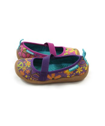 Purple & Pink Peace Spin Flat - Kids