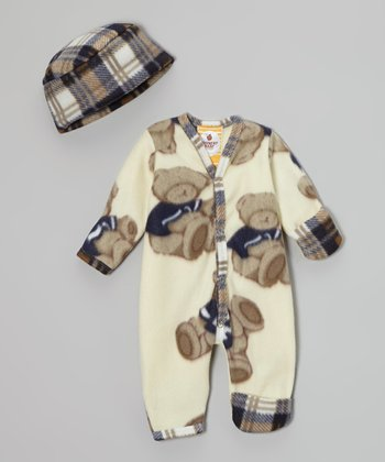 Cream & Blue Bear Romper & Beanie - Infant