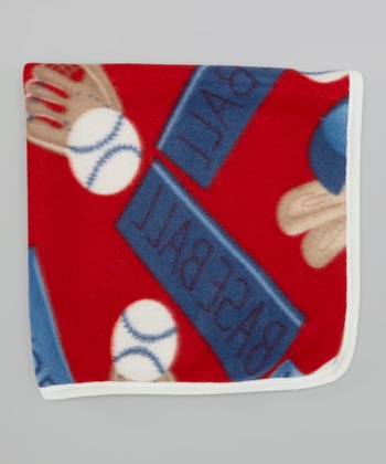 Red & Blue Baseball Stroller Blanket