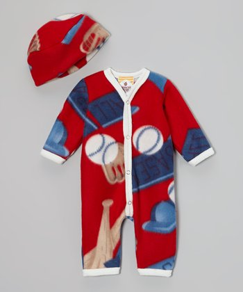 Red & Blue Baseball Romper & Beanie - Infant