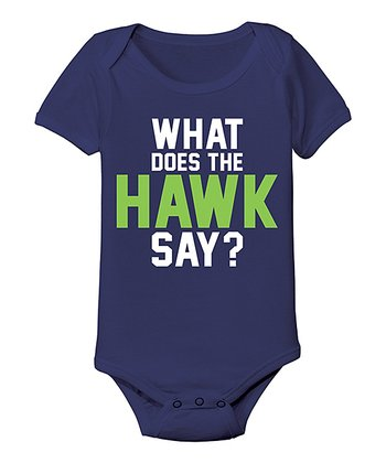 Navy 'What Does The Hawk Say' Bodysuit - Infant