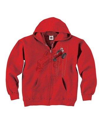 Red Tractor Tracks Lined Hoodie - Toddler & Kids
