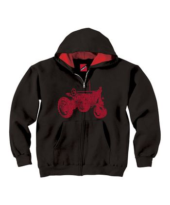 Black & Red Tractor Lined Hoodie - Toddler & Kids