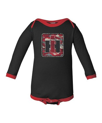 Black & Red Camo Logo Bodysuit - Infant