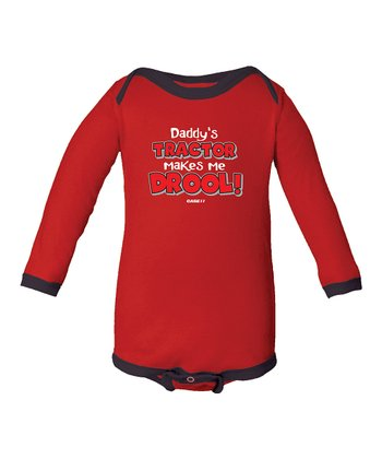 Red 'Daddy's Tractor Makes Me Drool' Bodysuit - Infant