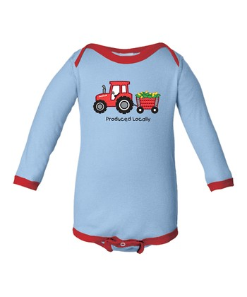 Light Blue 'Produced Locally' Tractor Bodysuit - Infant