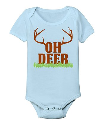 Light Blue 'Oh Deer' Bodysuit - Infant