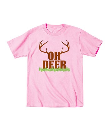 Light Pink 'Oh Deer' Tee - Toddler & Girls